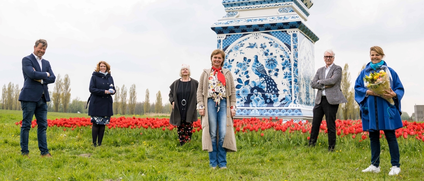 Rode tulpen bij Land Art Delft