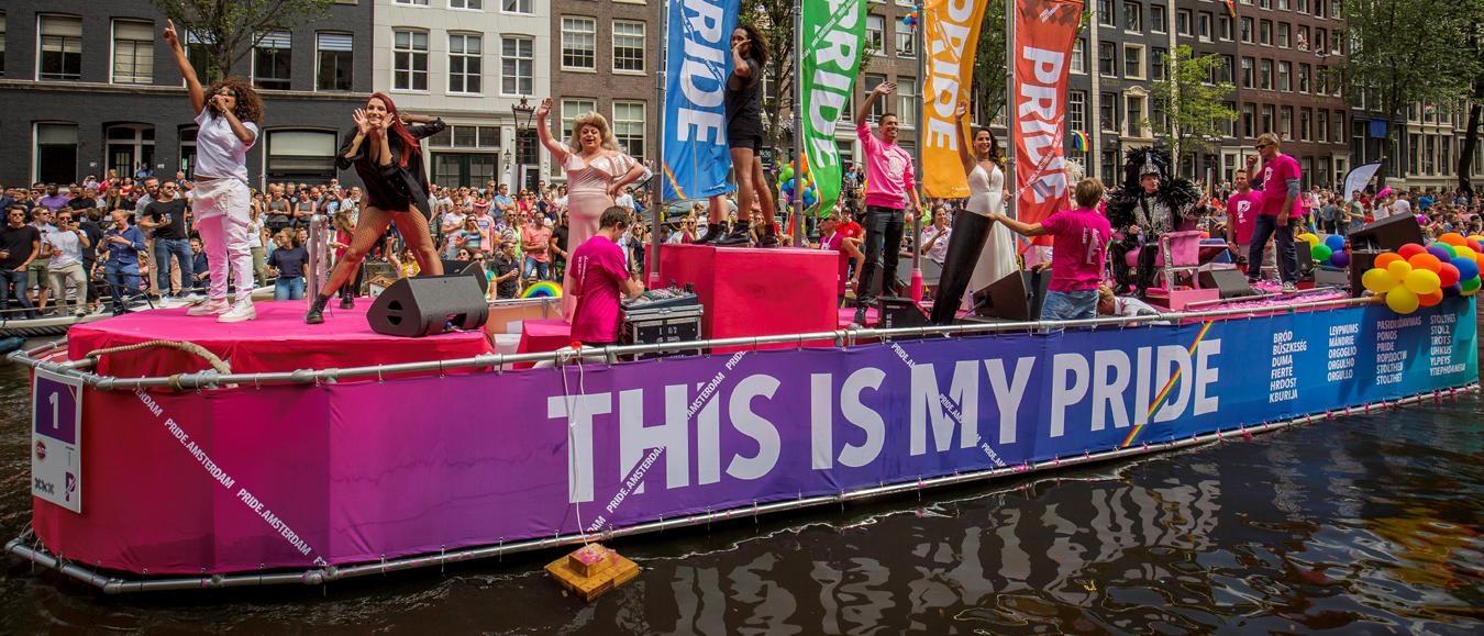 Pride Vignet voor bezoekers met boot Canal Parade