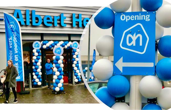 Duurzame ballonnen bij opening Albert Heijn in Amstelveen