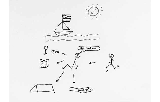(tekening Marga Groot Zwaaftink, druk oefenend….snap jij wat ik bedoel?)