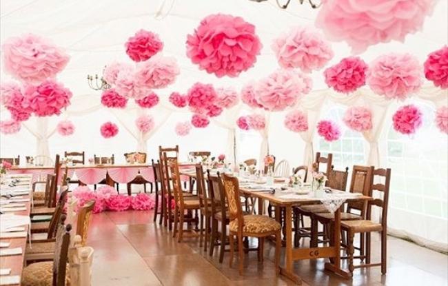 licht roze pompoms