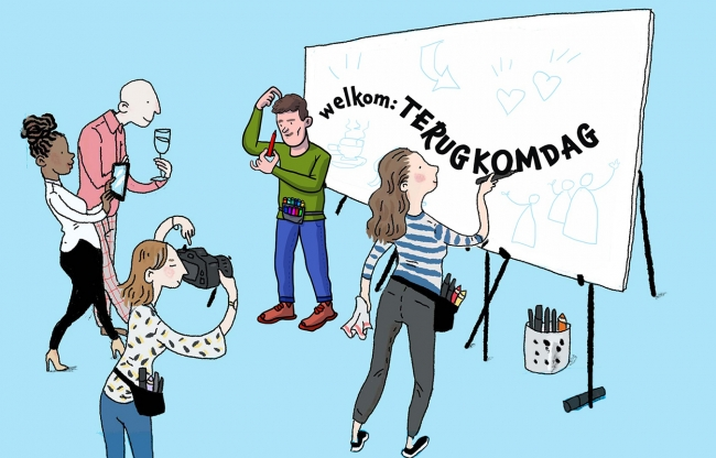 Terugkomdag - Illustratie > Wandverslag.nl